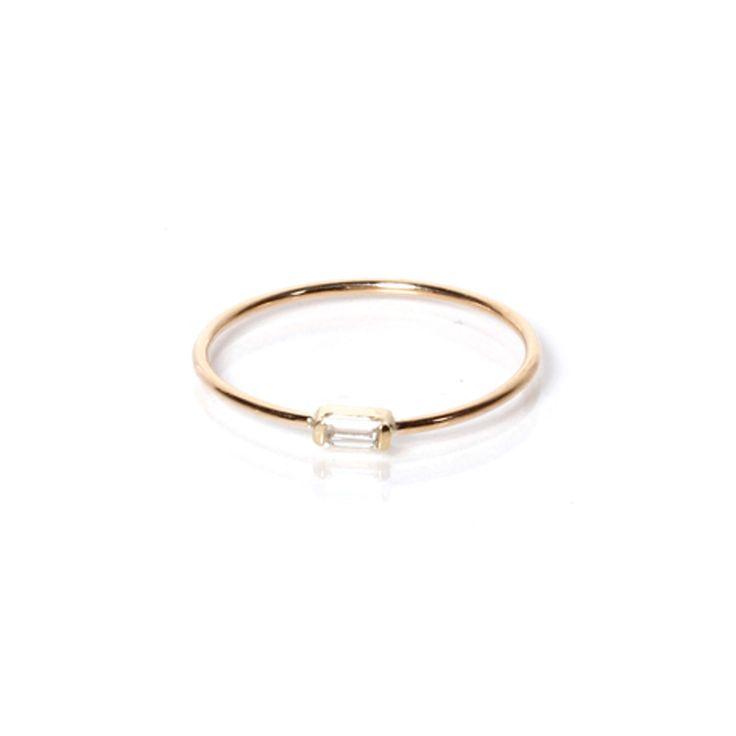 14k horizontal baguette ring. love. http://zoechicco.com/products/14k-horizontal-baguette-ring
