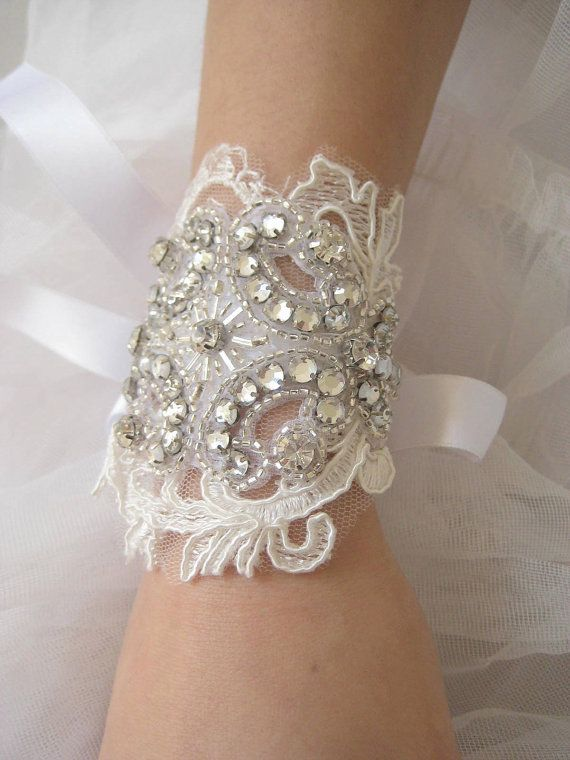 Lux Deco Lace beaded crystal bracelet with french by IngenueB, $39.00