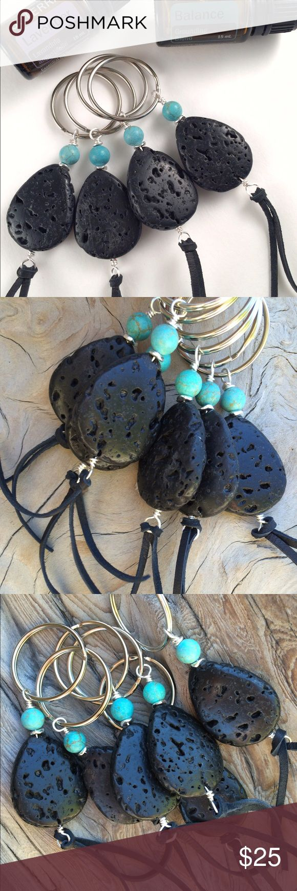 One Lava Stone Diffuser Keychain This listing is for one keychain. To diffuse, simply rub a couple drops of your favorite essential oil into the lava/leather. Makes a great gift for anyone who loves essential oils! Quinn Sharp Designs  Accessories Key & Card Holders