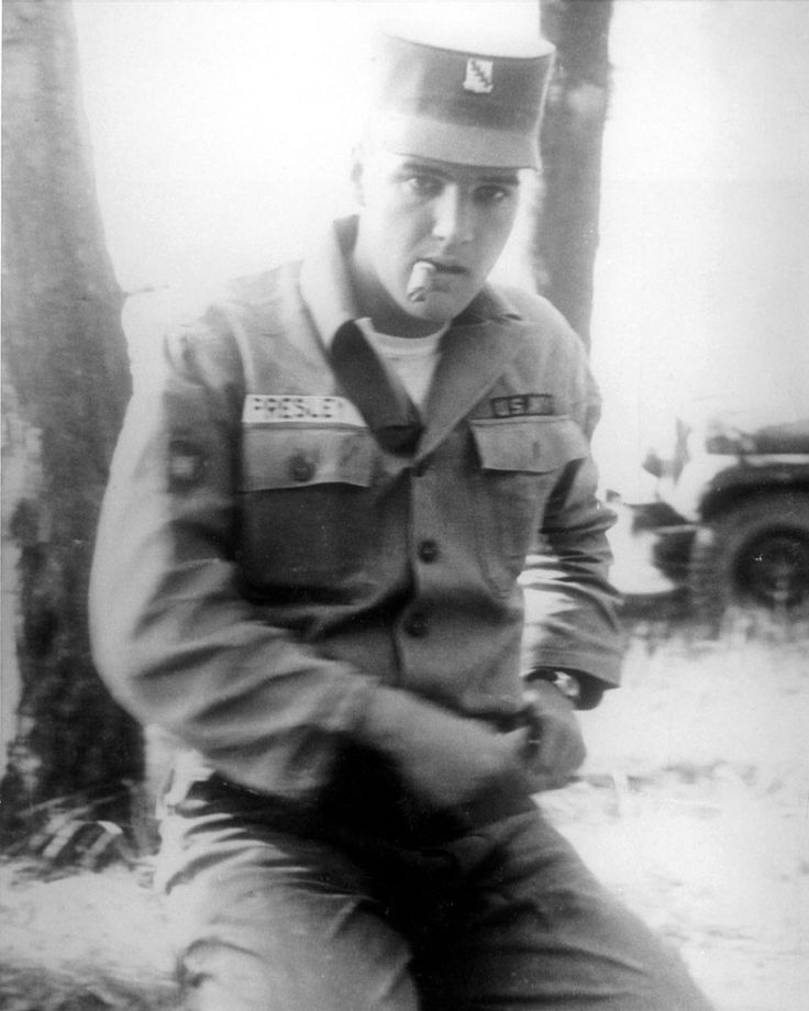 Sp4 Presley in his spare time at the Hattsteinweiher in Usingen, Germany on August 14, 1959. (Weiher is the German word for pond). It was the first anniversary of his mother Gladys's death. (Note the rank insignia on his right sleeve. Elvis was promoted to Specialist Fourth Class/ Sp4 on June 1, 1959.)