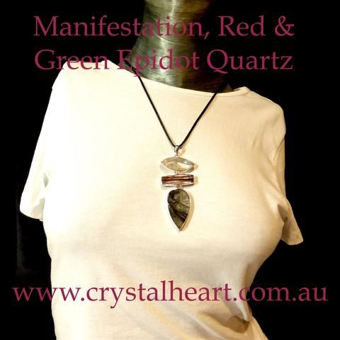 Manifestation Quartz | Red Epidot Quartz | Dreamer's Quartz | Pendant | 925 Sterling Silver |  Crystal Heart Melbourne Australia since 1986