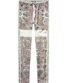 Zijdeachtige broek met paisley print