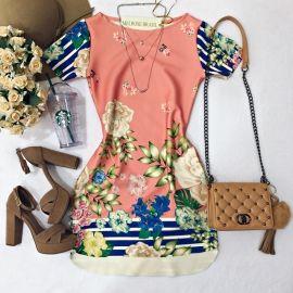 Vestido Fabiane No Neoprene  Flores /Listras ( C/ Bolsos)