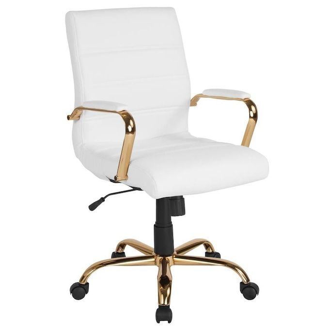 Flash Furniture White Leather Gold Frame Contemporary Adjustable Height Swivel Executive Chair Lowes Com In 2020 Modern Office Chair White Office Chair Leather Office Chair