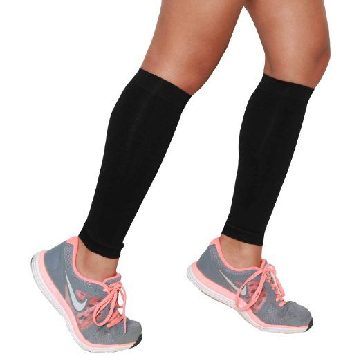 Compression Leg Sleeves (Pair) - Calf Sleeves to Relieve Shin Splints - Calf Support - Calf Guards - Shin Sleeves - Faster Muscle Recovery - Great for Running, Cycling, Traveling, Golf, Tennis, Maternity, and Working Out - 100% Money Back Guarantee