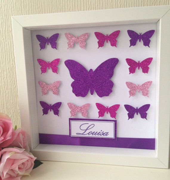 Baby Bedroom In A Box Special: Personalised Glitter Butterfly Frame,Shadow 3D Box Frame