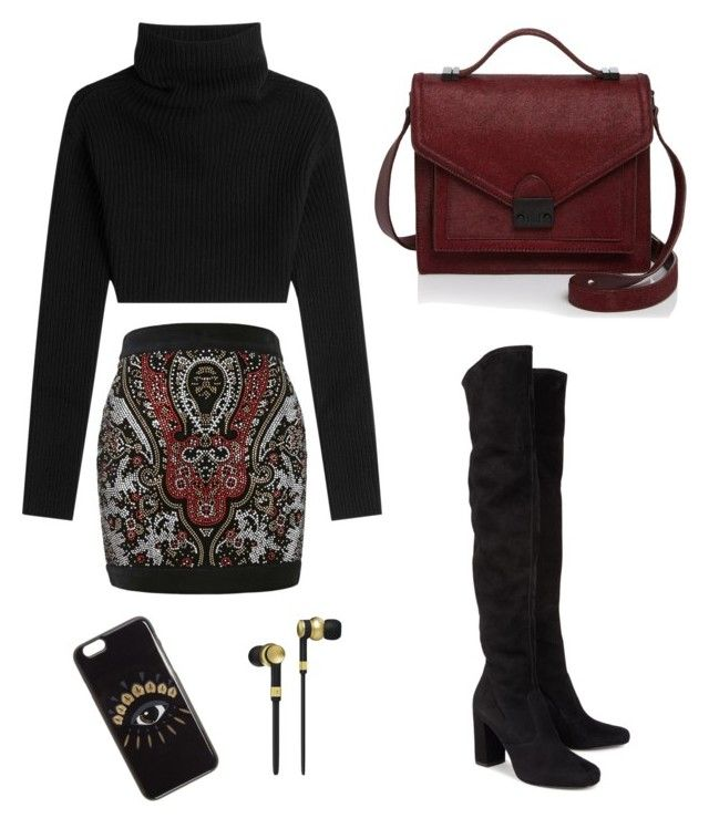 Eye to eye by anmari29 on Polyvore featuring polyvore, fashion, style, Valentino, Balmain, Yves Saint Laurent, Loeffler Randall, Kenzo, Master & Dynamic, clothing, skirt, blackboots, fashionset, polyvoreeditorial and overkneeboots