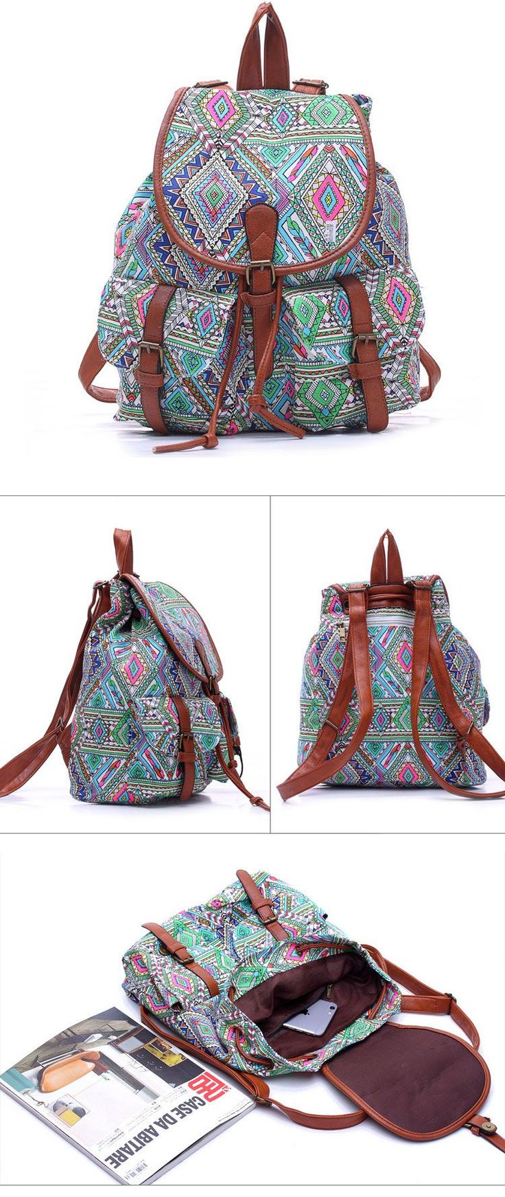 Fresh College Floral Geometry Pattern Canvas School Backpack Travel Rucksack…