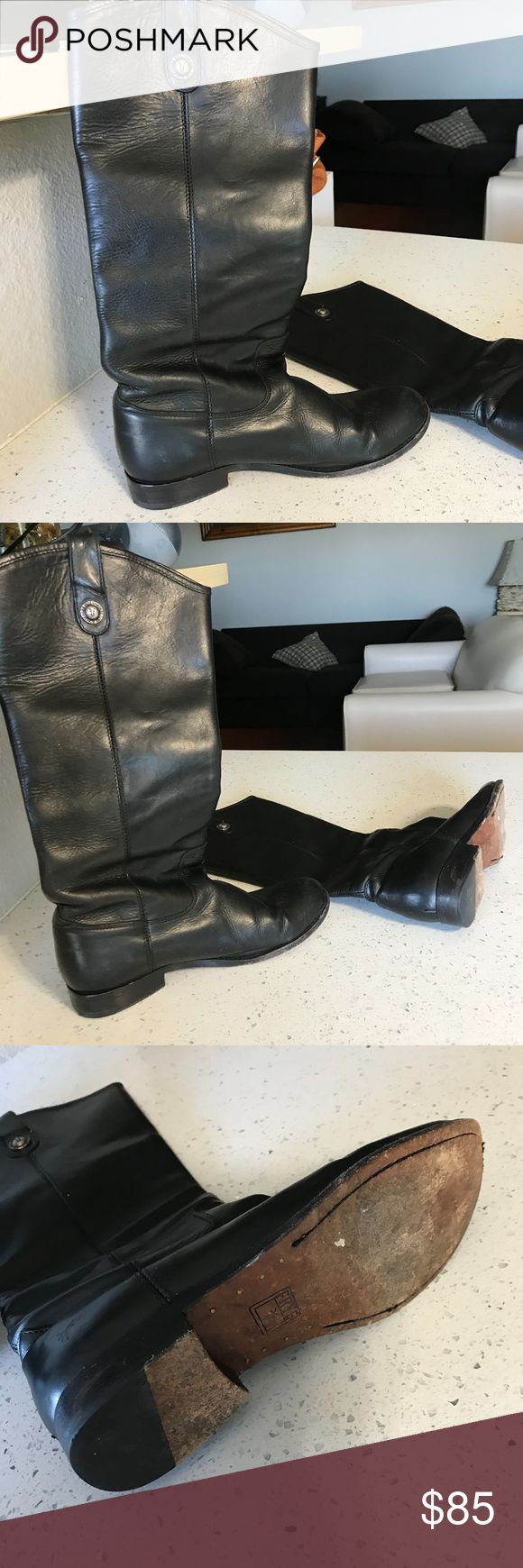 """Frye riding boots black color size 7 1/2 , good condition with wear on the soles, 15.5"""" tall Frye Shoes Combat & Moto Boots"""