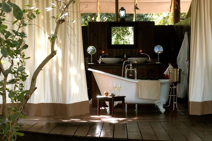 Lodge Bathroom, wooden floors, bath tub, outdoors