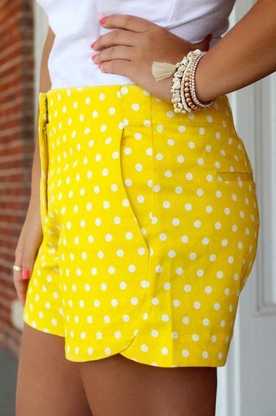 On Point Polka Dot Shorts - Yellow