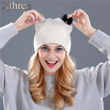 Xthree Rabbit fur wool knitted hat winter spring Skullies beanies hat for women girls kitty hat feminino(China (Mainland))
