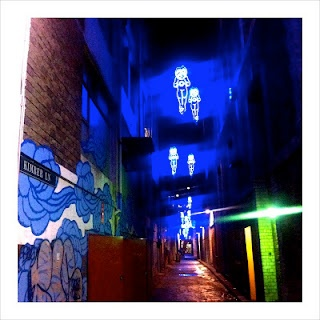A stunning light installation in a Chinatown back alley.