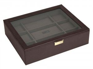 Engraved watch box from We Get Personal is the perfect gift for watch lovers. This elegant watch box can be engraved on the glass lid. #watchbox
