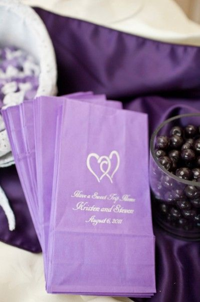 Have a sweet trip home! Pretty purple personalized candy buffet bags