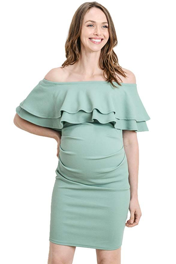 874b7f576c LaClef Women s Off Shoulder Maternity Dress with Double Ruffle at Amazon  Women s Clothing store