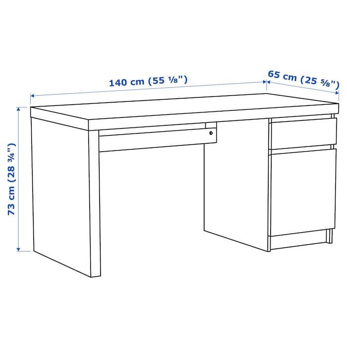 Malm Desk White 55 1 8x25 5 8 Ikea In 2020 Ikea Malm Desk Ikea Malm Malm