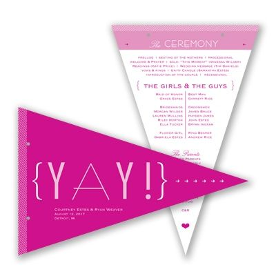 Cheers to Us Pennant Wedding Program #davidsbridal #weddingprogram #summerweddingWedding Programs, Pennant Programs, Weddingprogram Typography, Weddingprogram Summerwedding, Wedding'S Show Ideas, Davidsbridal Weddingprogram, Programs Ideas, Programs Davidsbridal