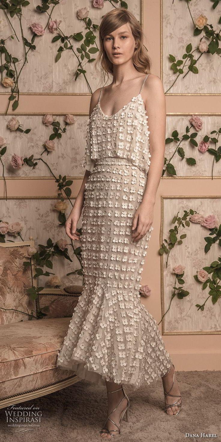 dana harel 2018 bridal spaghetti strap scoop neckline full embellishment romantic tea length fishtail wedding dress (10) mv -- Dana Harel 2018 Wedding Dresses