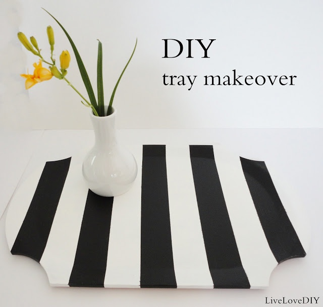 LiveLoveDIY: DIY Striped Wooden Tray Makeover