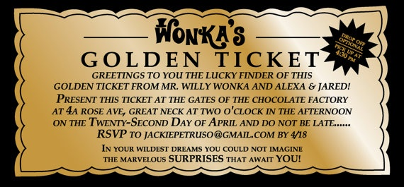WILLY WONKA Golden Ticket Party Invitation Digital by SweetLex ...