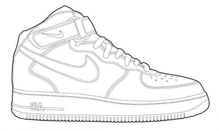 On Ecolorings Info Air Force One Shoes Sneakers Drawing Sneaker Art