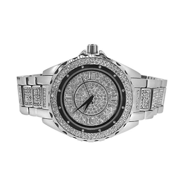 Silver Unique Bling Bling Watch Bracelet Set