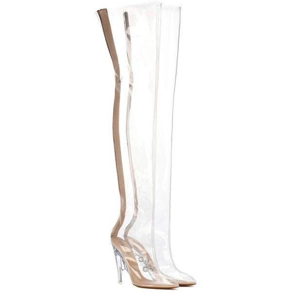 Yeezy Tubular Clear Over-the-Knee Boots (SEASON 4) ($940) ❤ liked on Polyvore featuring shoes, boots, white and adidas originals