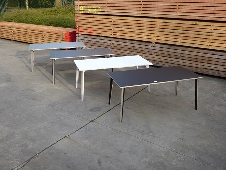tables in birch plywood with matt colored laminate (ABET SEI DUE)