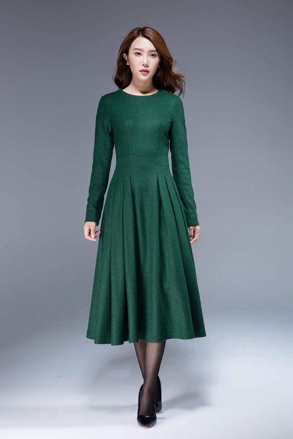ed7f73591ec99f green dress wool dress midi dress pleated dress fit and