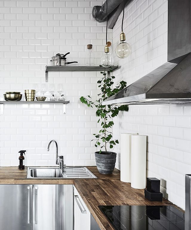 A charming little home that doubles as an artist's studio, the interior  drew me in. Scandinavian Kitchen BacksplashModern Kitchen TilesSwedish ...