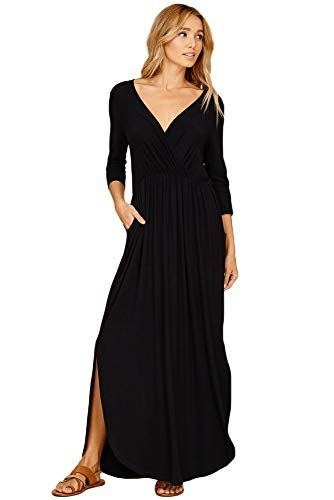 2a393d0060 Annabelle Women's Empire Pleated Wrap V-Neck Solid Print Max Length Dress  with Round Hem