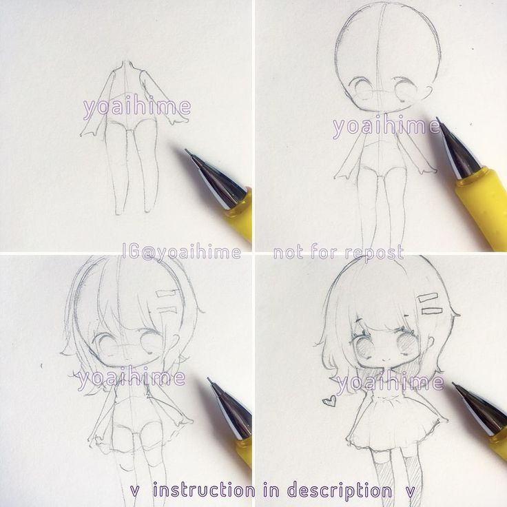 How I start my chibi drawings. I am using a 0.5mm HB lead pencil. (1) I draw body first because then it is easier to control the head-to body ratio for chibi. For male characters make the shoulders wider and hips smaller/flat. Make it light (unlike what I did :( )because you will erase parts of it later (2) draw the head and eyes. It is optional but I like to draw the eyes slightly lower than I would on a regular anime character (3) Draw the hair and clothes, but lightly for now. You can…