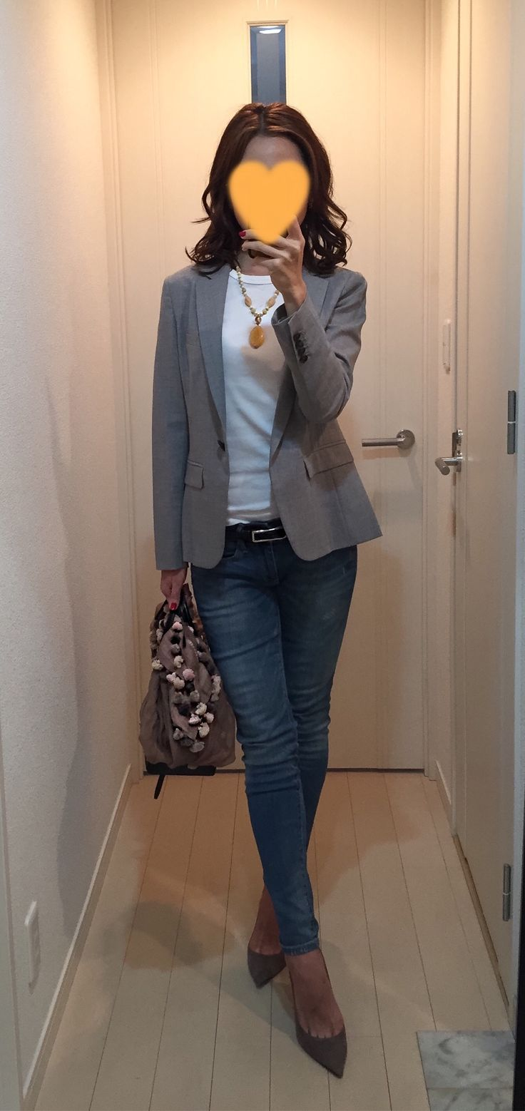 Grey jacket: Nolley's, Long tee: Three dots, Denim: GAP, Scarf: CITRUS, Bag: Tod's, Pumps: Jimmy Choo