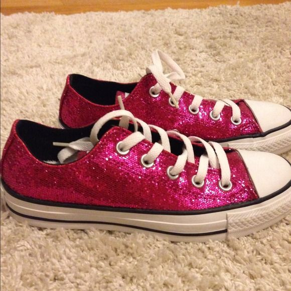 Pink Glitter Converse Never worn out of the house, just tried on a few times. Converse Shoes