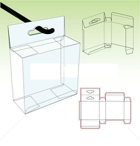 Straight tuck carton box template with shelf hanger