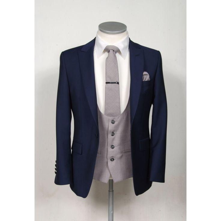 Slim fit royal blue wedding lounge suit with grey scoop waistcoat