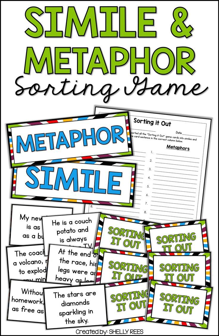 Simile And Metaphor Game And Figurative Language Activities For 3rd 4th 5th And 6th G Similes And Metaphors Figurative Language Activity Figurative Language