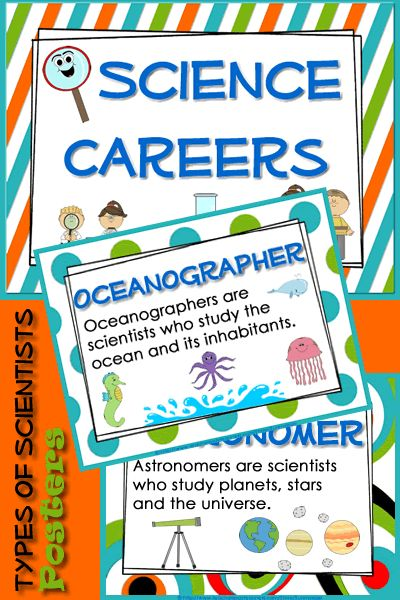 Types of Scientists. Cute & colorful posters.