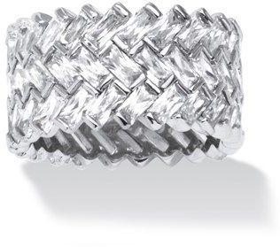 Seta Jewelry 9.66 Tcw Cubic Zirconia Baguette Chevron Ring.