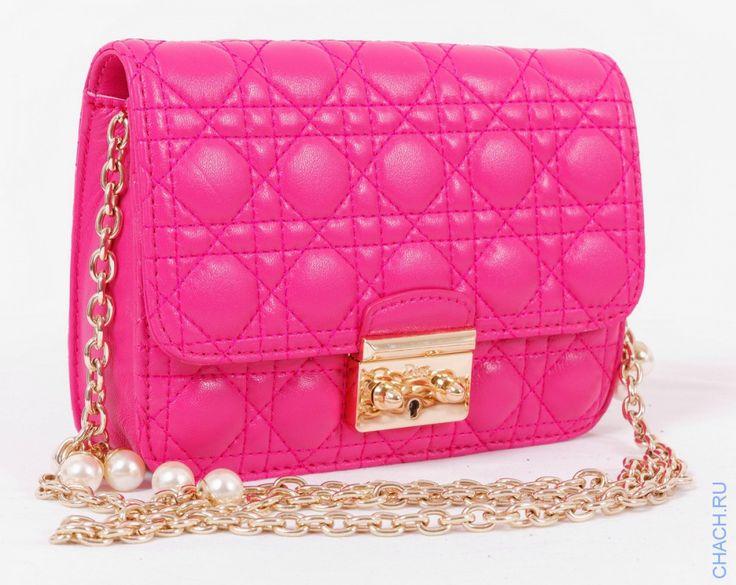 Сумка Mini Miss Dior розовая, из натуральной кожи ягненка с жемчужным украшением на цепочке