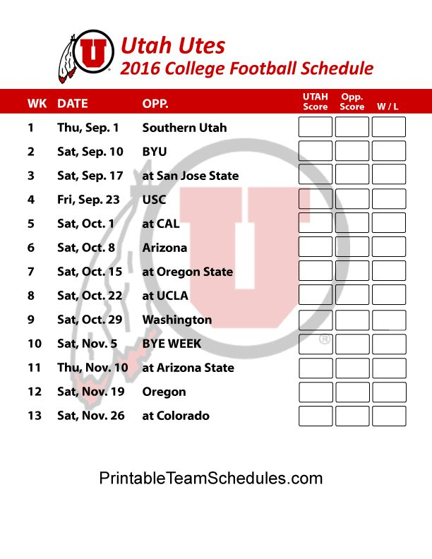 Utah Utes Football Schedule 2016. Print Schedule Here - http://printableteamschedules.com/collegefootball/utahutes.php