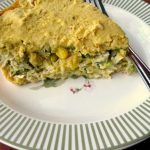 This Chicken Tamale Pie tastes like tamales! With a masa crust, shredded chicken, diced veggies, and salsa verde, it's easier and quicker to make.