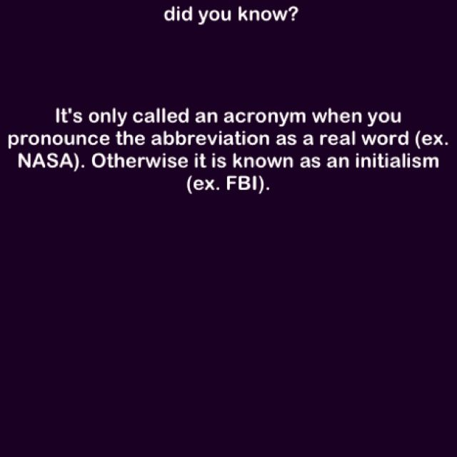 The difference between an acronym and an initialism