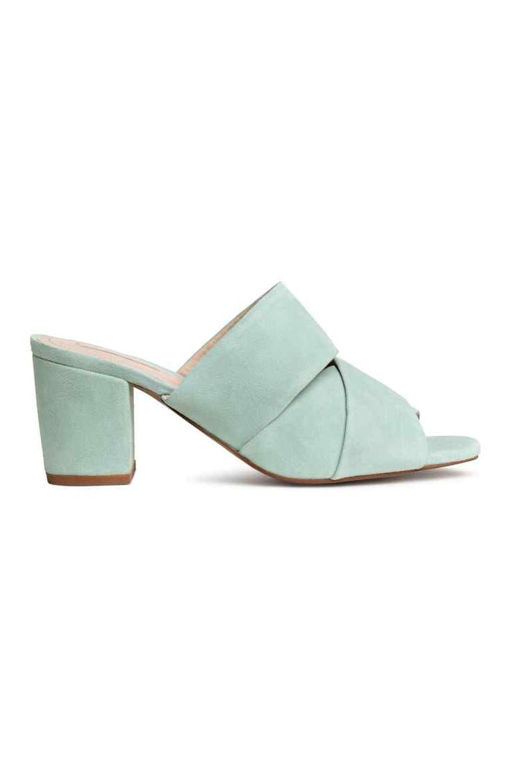 Suede mules - Mint green - Ladies | H&M