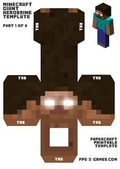 Create a Large Papercraft Herobrine Character , 1 of 4. ~ FPSX Games #minecraft #herobrine #papercraft