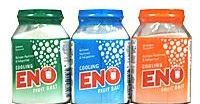 What is Eno Fruit Salt  Eno fruit salt is a combination of baking soda, citric acid and soda S. It have 46% of baking soda (sodium bicarbon...