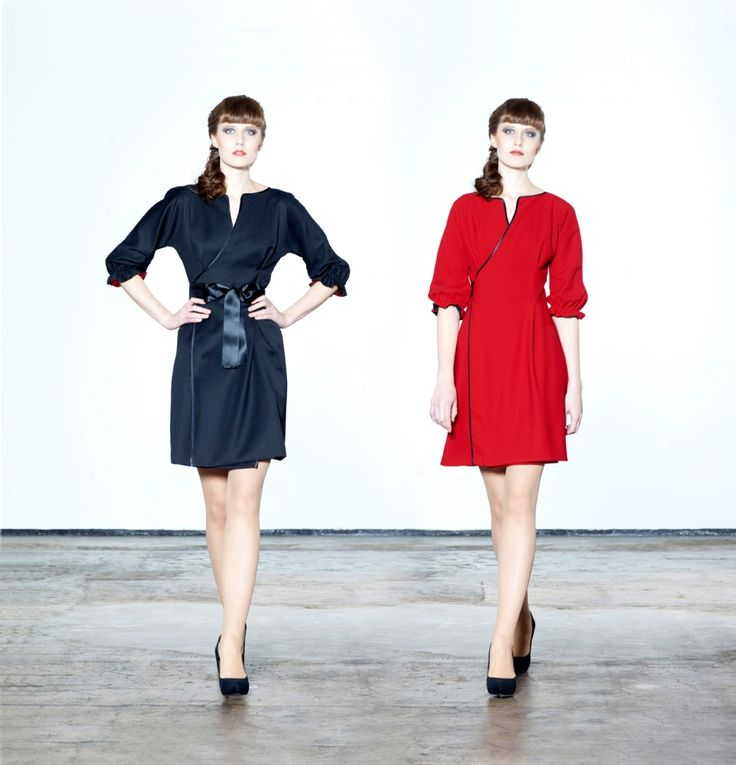 Jolier Lovely - black-red. Double side wrap dress with black ribbon belt. By simply turning the skirt inside out you can change the colour from office to party from casual to outstanding! Buy online at www.jolier.com