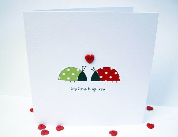 Valentine Card  Love Bugs  Funny Card  Paper Cut by Nikelcards