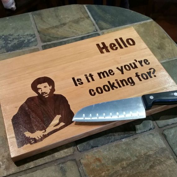 Hello is it me you re cooking for? Measures 9x13x1 Etched DesignMade from cherry wood